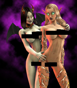 Nude World of Warcraft Warlock With Pet